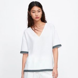 NWT ZARA TOP WITH CONTRASTING BAND White S